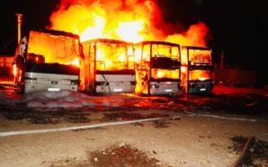 На Прикарпатті розшукують зловмисників, які підпалили чотири автобуси. ФОТО